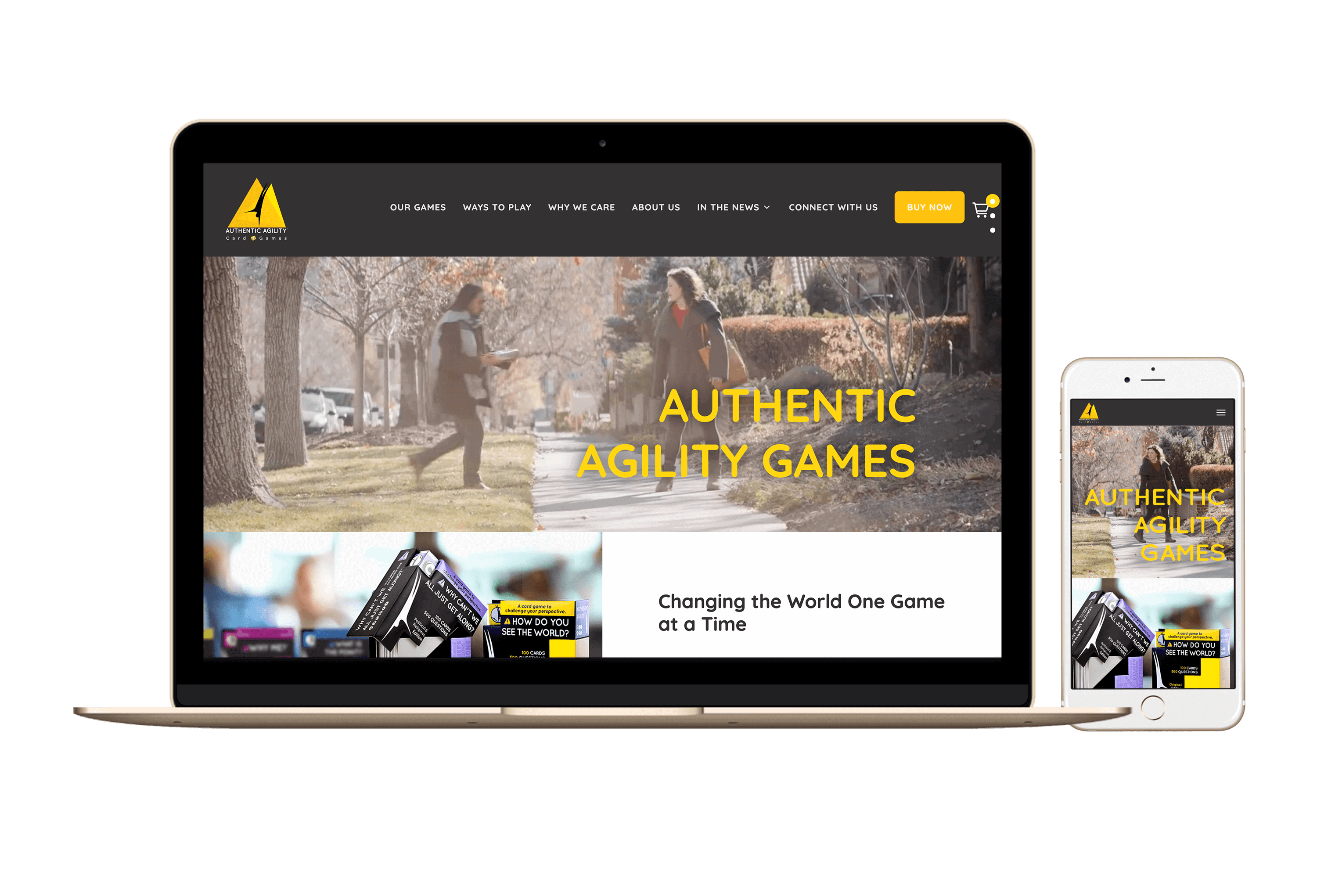 mockup of the Authentic Agility Games website on laptop and phone