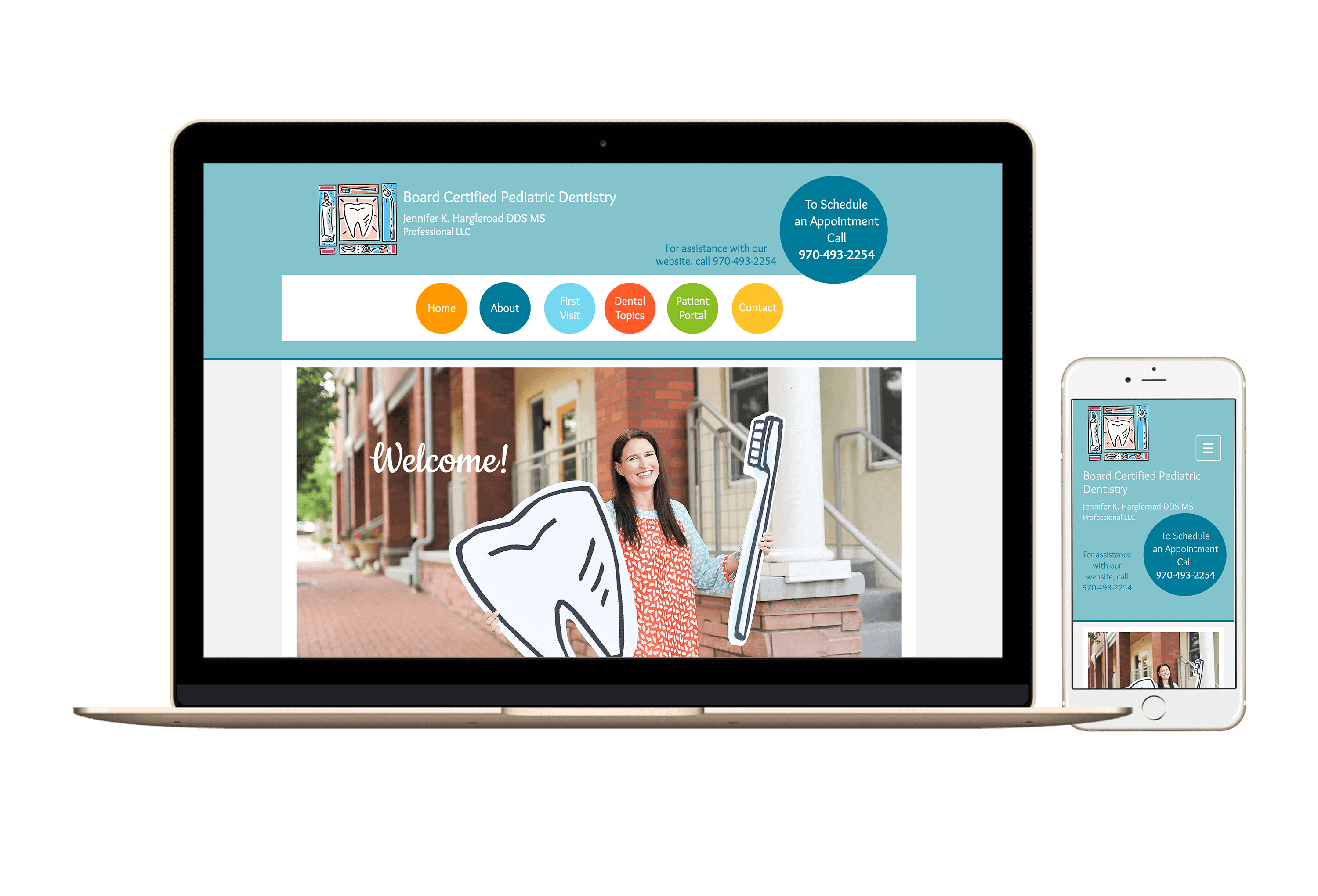 desktop and mobile website mockup for Dr. Jennifer Hargleroad