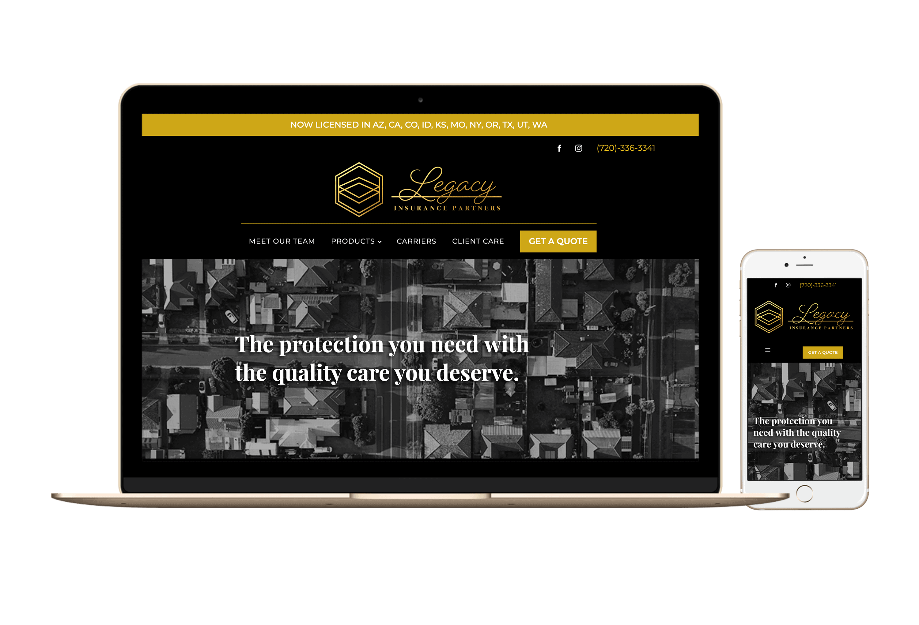 desktop and mobile mockup of Legacy Insurance Partner website